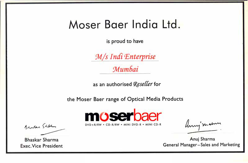 Moser Baer Certification, Indi Production Vile Parle, Indi ...